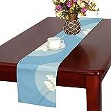 GGSXD テーブルランナー 面白い ブルーうさぎ クロス 食卓カバー 麻綿製 欧米 おしゃれ 16 Inch X 72 Inch (40cm X 182cm) キッチン ダイニング ホーム デコレーション モダン リビング 洗える