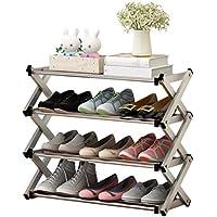 ステンレススチールシューズラック、家庭用折り畳み式金属靴ラックマルチレイヤーマルチファンクションシェルフ (サイズ さいず : 60 * 23 * 52CM)