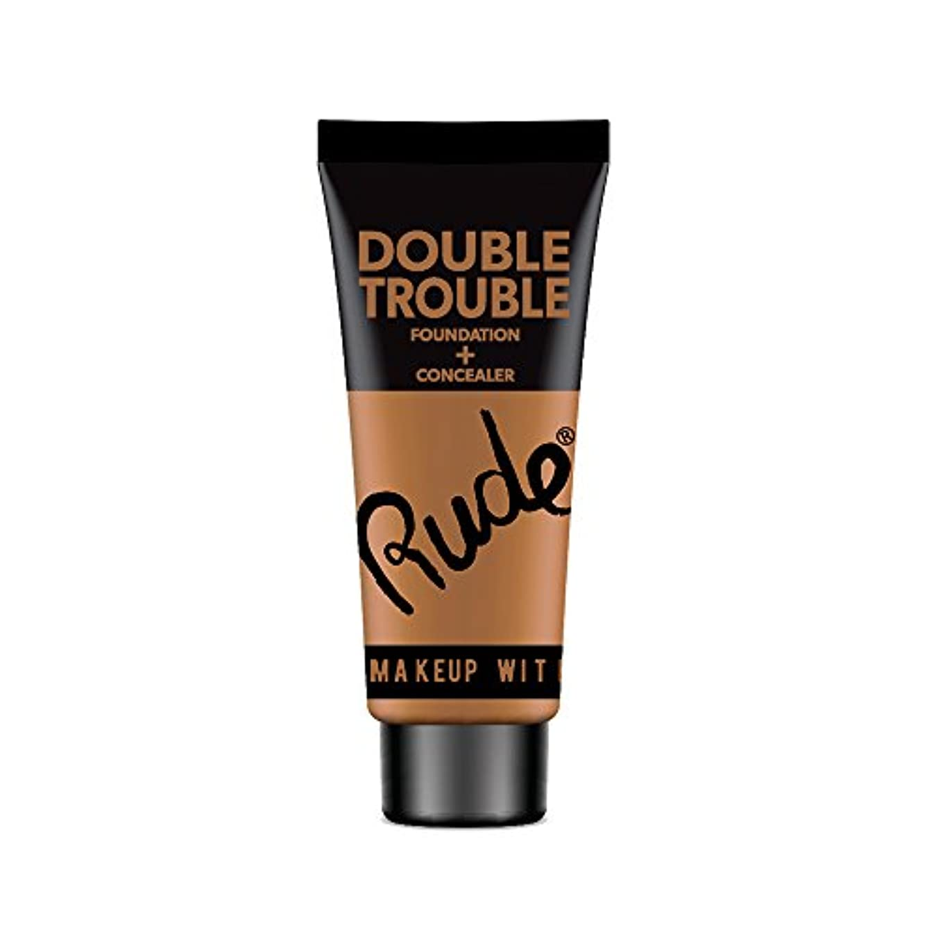 洗う前者謝罪(6 Pack) RUDE Double Trouble Foundation + Concealer - Walnut (並行輸入品)