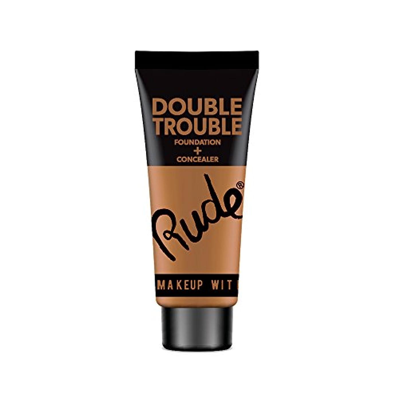 従順過度に失態(3 Pack) RUDE Double Trouble Foundation + Concealer - Walnut (並行輸入品)