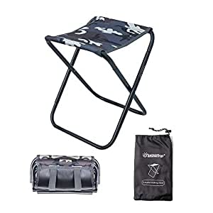 OMUKY折りたたみ椅子 アウトドアチェア コンパクト 持ち運びやすい アルミ合金・超軽量 超頑丈 収納袋付き キャンプチェア アウトドア用 (カモフラージュ)