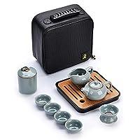 手作りの携帯用茶セット、中華スタイルの氷割れ茶セット、ティーカップ、ティーポット、ティー缶、ティートレイ付きトラベルティーセット (色 : 青)