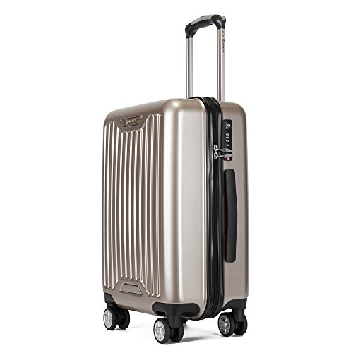 Kroeus(クロース) スーツケース ファスナータイプ 大型キャスター 8輪 静音 大容量 キャリーケース 軽量 人気 旅行 出張 TSAロック搭載 耐衝撃 ソフトなハンドル 取扱説明書付 2XL チタンゴールド