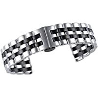 Jubilee Style Luxury Two Tone Silver/Black Solid INOX Metal Watch Strap Replacements