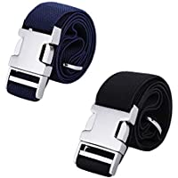 AWAYTR Kids Toddler Belt for Boys - 2 Pieces Zinc Alloy Buckle Elastic Belts for Girls