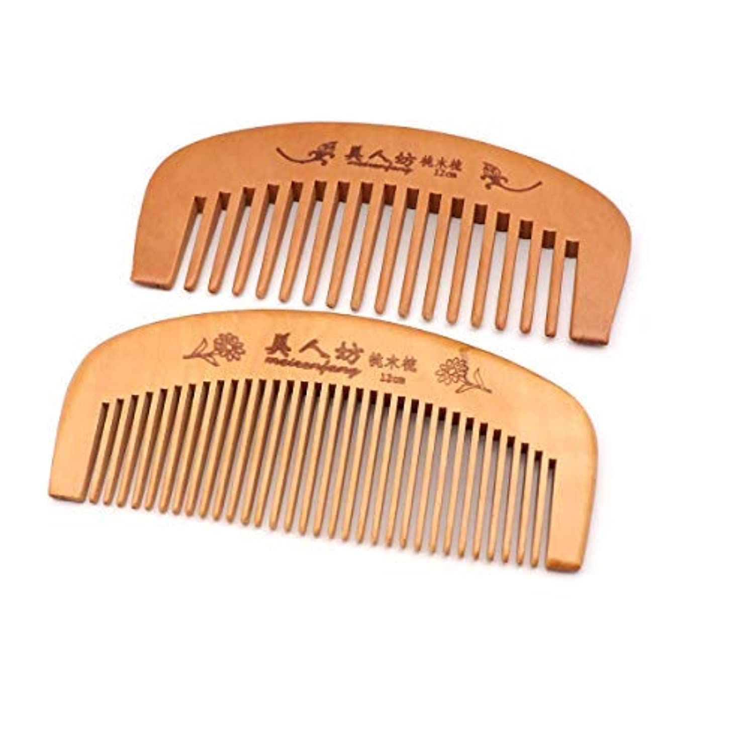 騒々しい増幅器ホースHandmade Wooden Hair Comb for Curly Wide Toothed Wooden Comb, anti-Static and Barrier-free Hand Brushing Beard...