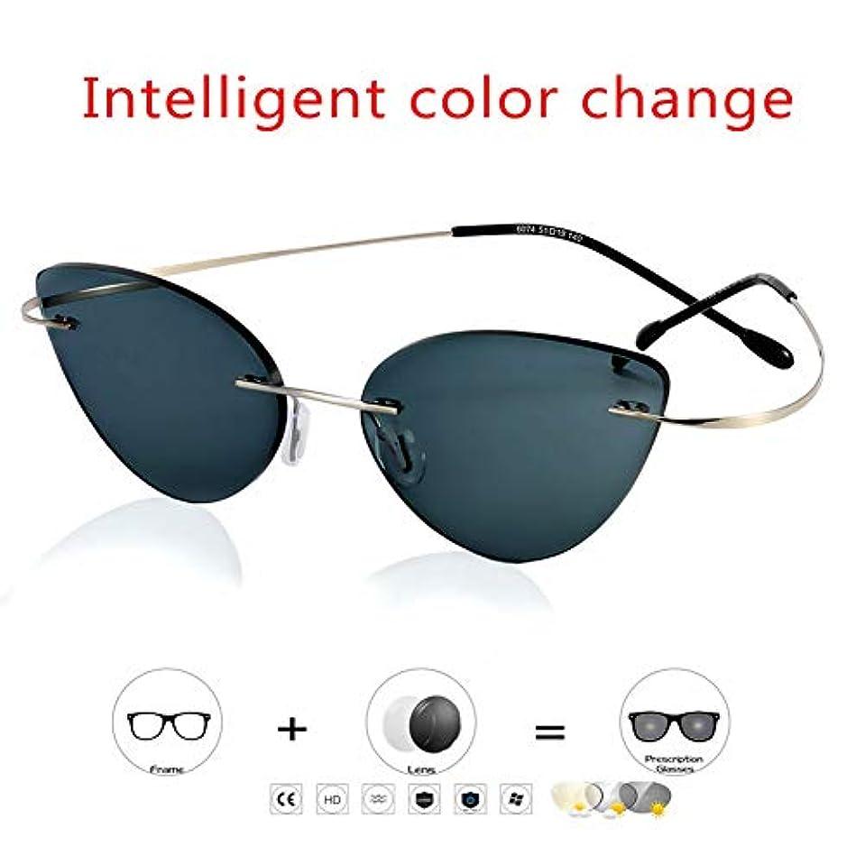 ファッションブルーレイアンチuv老眼鏡真空ipメッキプロセス5秒速い色変化人格ライトポータブル屋内屋外老眼鏡,350