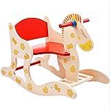 FRF トロイの木馬- 子供の屋内大型木製トロイの木馬のおもちゃ、子供のロッキングホースのロッキングチェアのおもちゃ (Color : Wood color, Size : 60x28.5x45cm)