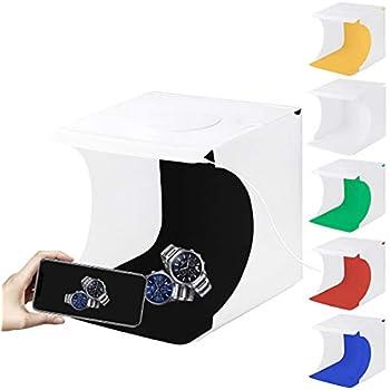 PULUZ 撮影ボックス20cm 折畳みポータブル LED 1本 550LMライト写真スタジオボックスキット6色背景(黒、白、オレンジ、赤、緑、青)サイズ:24cm x 23cm x 22cm (22*23*24cm 1行LED)