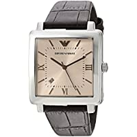 Emporio Armani Brown Stainless Steel & Leather Watch AR11098