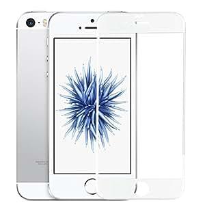 SUPTMAX iPhone SE 対応 iPhone SE 液晶保護フィルム iPhone 5Sフィルム 0.26mm 2.5D 9H 強化ガラス 耐衝撃 自動吸着99%高透過率 気泡ゼロ iPhone SE 5S 5C 5 ガラスフィルム 全面 ( ホワイト)