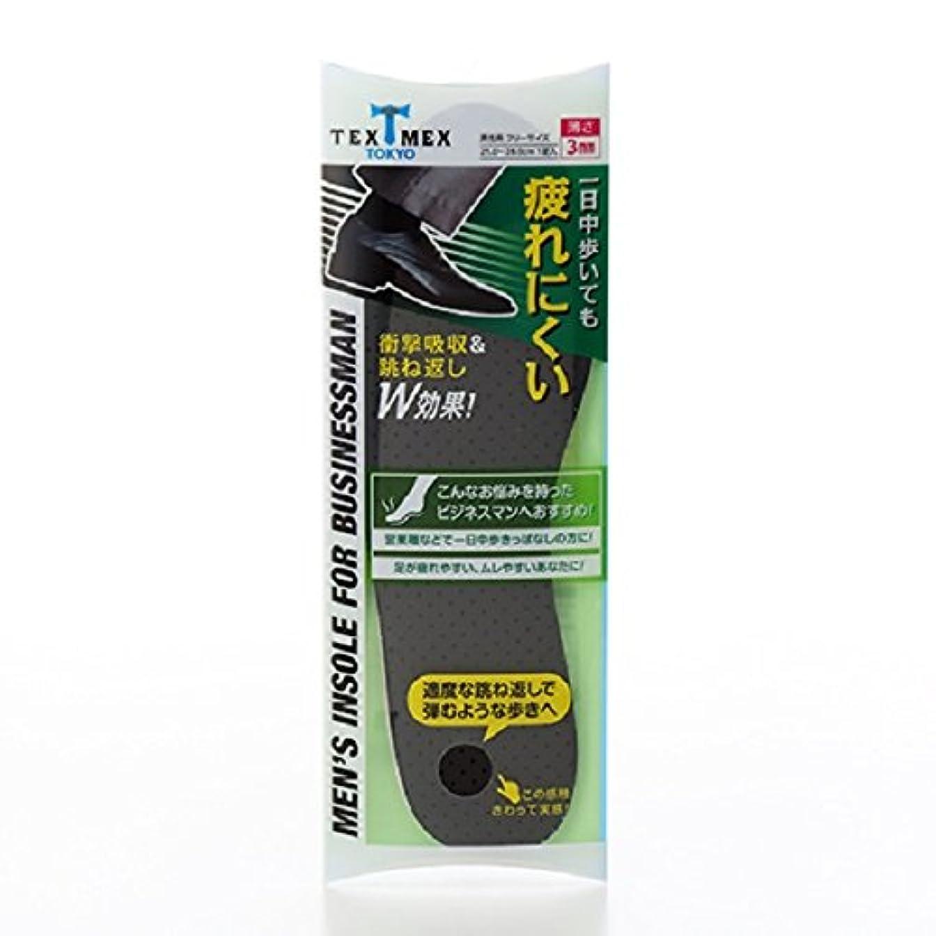 現像苦い力強いテックスメックス 衝撃吸収メンズインソール 1足分 25cm~28cm (男性用インソール) 【足の疲れや痛み、ムレ対策に】