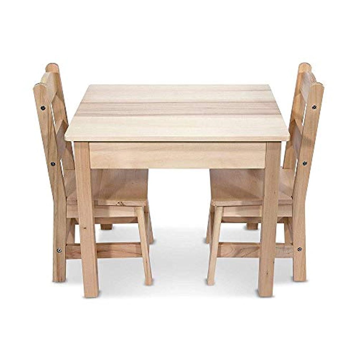 抗議守銭奴召集するSkroutz 子供用 テーブルと椅子セット 2椅子 無地 丈夫 3ピース 簡単組立式