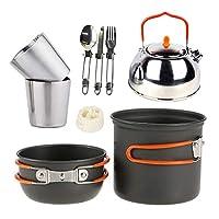 JACKBAGGIO 新しい 調理器具セット、 ステンレス 食器 屋外キャンプポット ハイキング ティーポットコーヒーポット、 軽量& コンパクト& 丈夫 にとって 1-2人