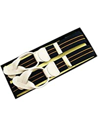 (ブレイス)Brace 6ボタン止め サスペンダー メンズ 紳士 英国 AZ Navy/Gold/Brown ネイビー ゴールド ブラウン Stripe/WhiteLeatherend B442