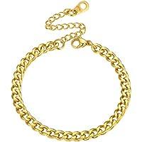 PROSTEEL Stainless Steel Bracelet, Cuban Link Chain Bracelet, Black/18K Gold Plated, W:6mm/10mm/14mm, L:7.5''/8.3'', Women Men Jewelry
