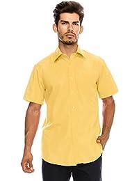 JC DISTRO メンズ レギュラーフィット 無地 半袖 ドレスシャツ