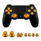 テンニオ 対応 PS4コントローラー ボタン 交換用 4アクションボタン/2スティックボタン/1 D-PADボタン (金色)
