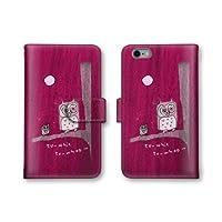 【ノーブランド品】 AQUOS PHONE ZETA SH-02E スマホケース 手帳型 フクロウ 鳥 レッド 赤色 かわいい おしゃれ 携帯カバー SH-02E ケース