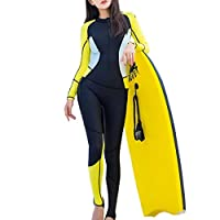 YIJUPIN ウェットスーツ レディース 女性用 厚さ0.5mm 潜水服 日焼け止め服 速乾 連体デザイン 長袖 (色 : 黒/黄色, サイズ : M)