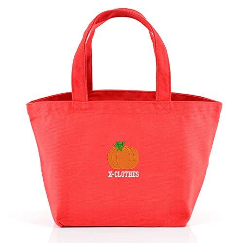 [X-CLOTHES] ミニトートバッグ バッグ ランチバッグ ワンポイント 刺繍 グッズ レディース キャンバス カボチャ かぼちゃ 南瓜 レッド 赤 かぼちゃ2