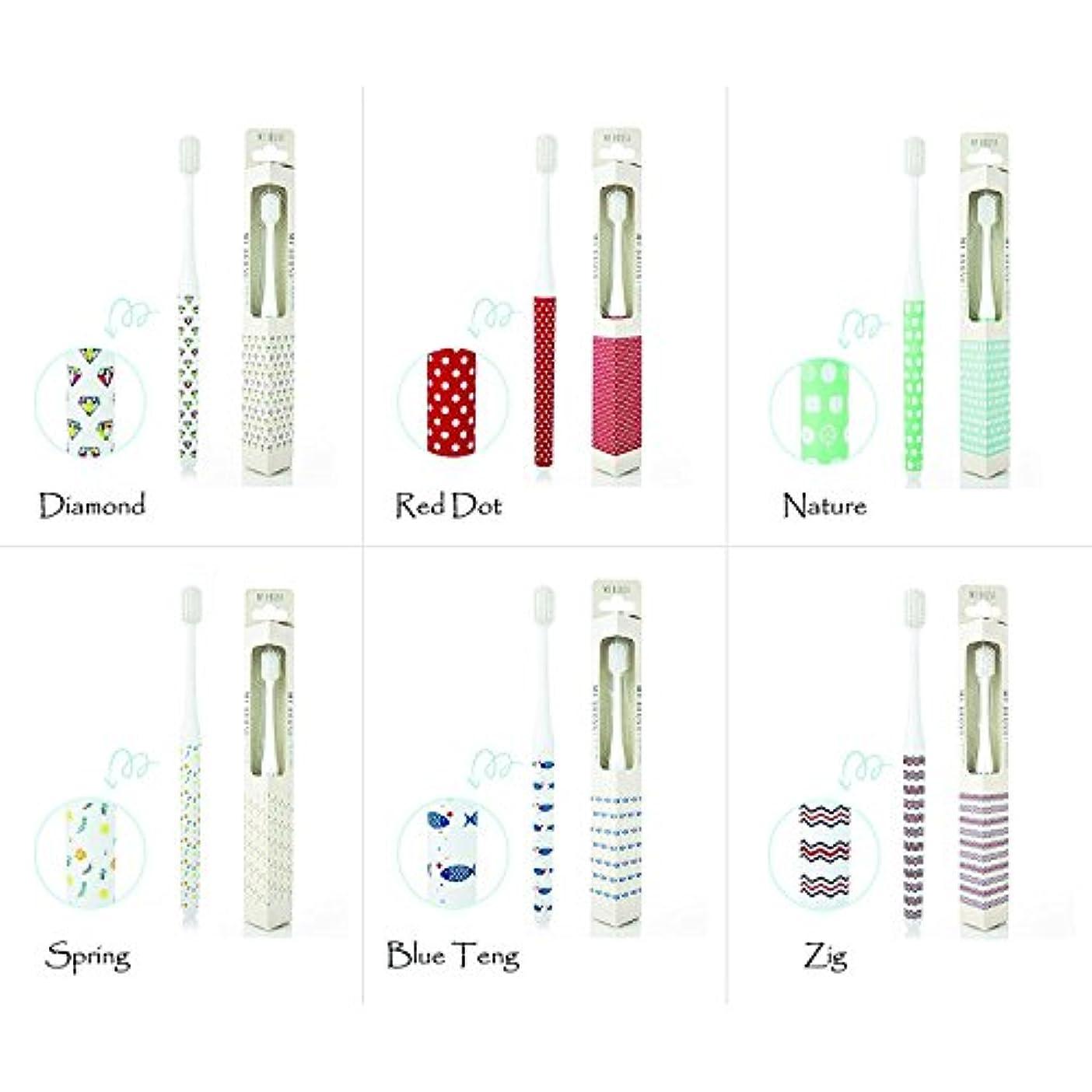 法医学積分効率的【My Brush Series】磨きやすい 抗菌超極細毛ソフト コンパクトヘッド デザイナー歯ブラシ 6本セット (大人用ハブラシ)