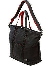ポーターエルファイン(PORTER L-fine) PORTER×ILS共同企画 トートボストンバッグ(38mm幅ショルダーストラップ付)Tote Boston Bag ブラック(裏地:レッド) Black(Backing:Red)