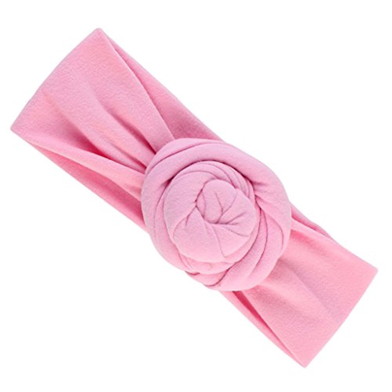 SONONIA かわいい 子供 女の子 赤ん坊 幼児 結び目 ヘッドバンド ヘアバンド アクセサリー ヘッドウェア  ソフトコットン 全8色 - ピンク