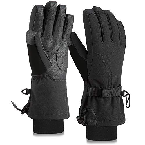Fazitrip スキーグローブ メンズ 9010ダウン 手袋 耐摩耗 防寒 通気 線の切れない確保 アウトドア (黒(五本指), S/M)