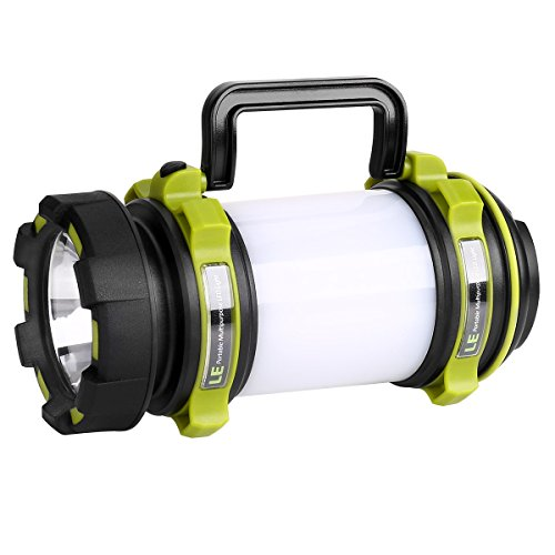 LE 3-in-1 LEDサーチライト CREE社製高輝度チップ搭載 明るさ500ルーメン USB充電式 2600mAh電池内蔵 モバイルバッテリー機能 6つ点灯モード 無段階調光 防滴 キャンプ 登山 釣り 防災 停電 緊急 非常用