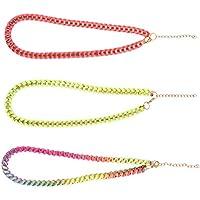 TOYANDONA 3pcs Colorful Beaded Choker Necklace Woven Necklace (Random Color)
