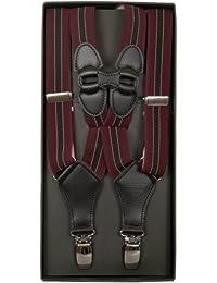 礼装倶楽部 サスペンダー ホルスター型 ワインレッド ストライプ 箱入り MX46-30