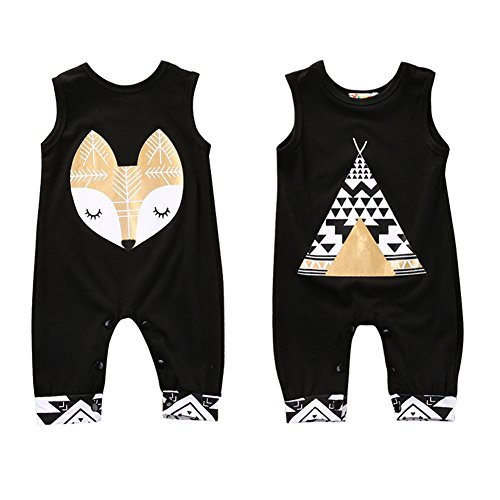 b7a30c1cf4f44 Sylvamorning テント 狐 ベビー カバーオール 女の子 男の子 ロンパース 赤ちゃん メースリーブ ロンパース 可愛い 夏 薄手 肌着  カジュアル ファッション 黒 0.