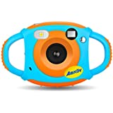 キッズデジタルカメラ、クリエイティブ充電式キッズカメラミニ1.77インチスクリーンHDビデオアクションカメラビデオカメラクリスマス新年誕生日祭りおもちゃギフト用子供男の子女の子, Orange