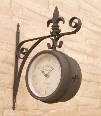 RoomClip商品情報 - 洋風 アメリカン 壁掛式 両面クロック (S) ブラウン 掛け時計 アンティーク風