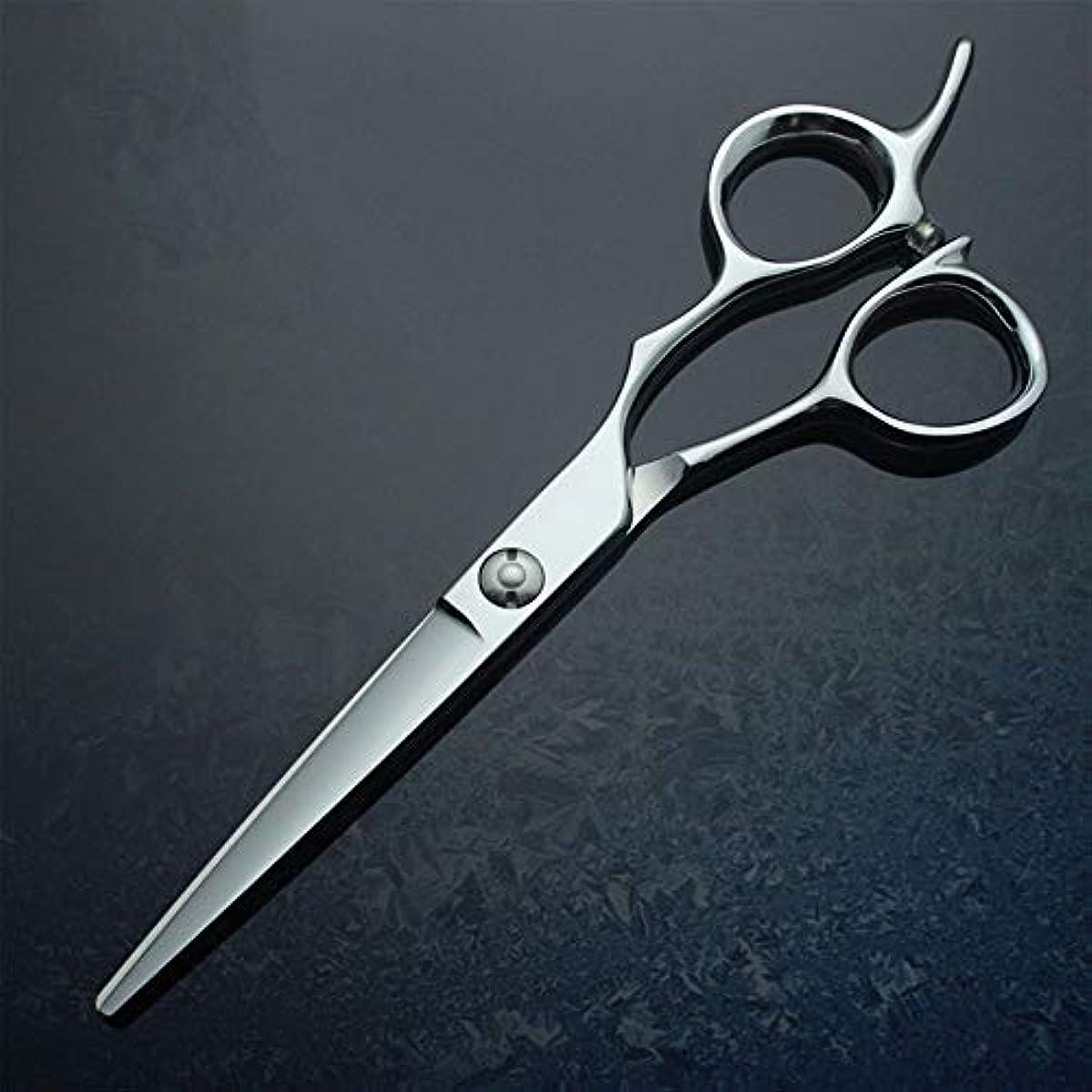 騒平凡土器6インチフラットシア、440Cプロフェッショナルハイエンド理髪用ハサミ モデリングツール (色 : Silver)