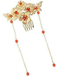 FLAMEER 全7タイプ ヘアコーム クリスタル 花 ビーズ 結婚式 花嫁 ヘアアクセサリー 髪飾り ゴールド - タイプ6