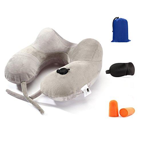 AYSHTR ネックピロー 携帯枕 旅行枕 u型枕 飛行機まくら オフィス 快適安眠 耳栓 アイマスク 収納ケース付