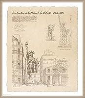 ポスター イヴ ポワンソ 自由の女神、パリ 額装品 ウッドベーシックフレーム(オフホワイト)