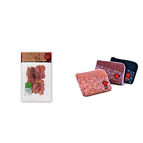 [2点セット] 薫製達人 豚バラベーコン燻製(60g)[飛騨山椒付き]・おねがいさるぼぼ ポーチ(小) 【エンジ】