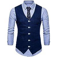 C2S Men's V-Neck Vest 5 Buttons Single Breasted Linen Slim Fit Waistcoat