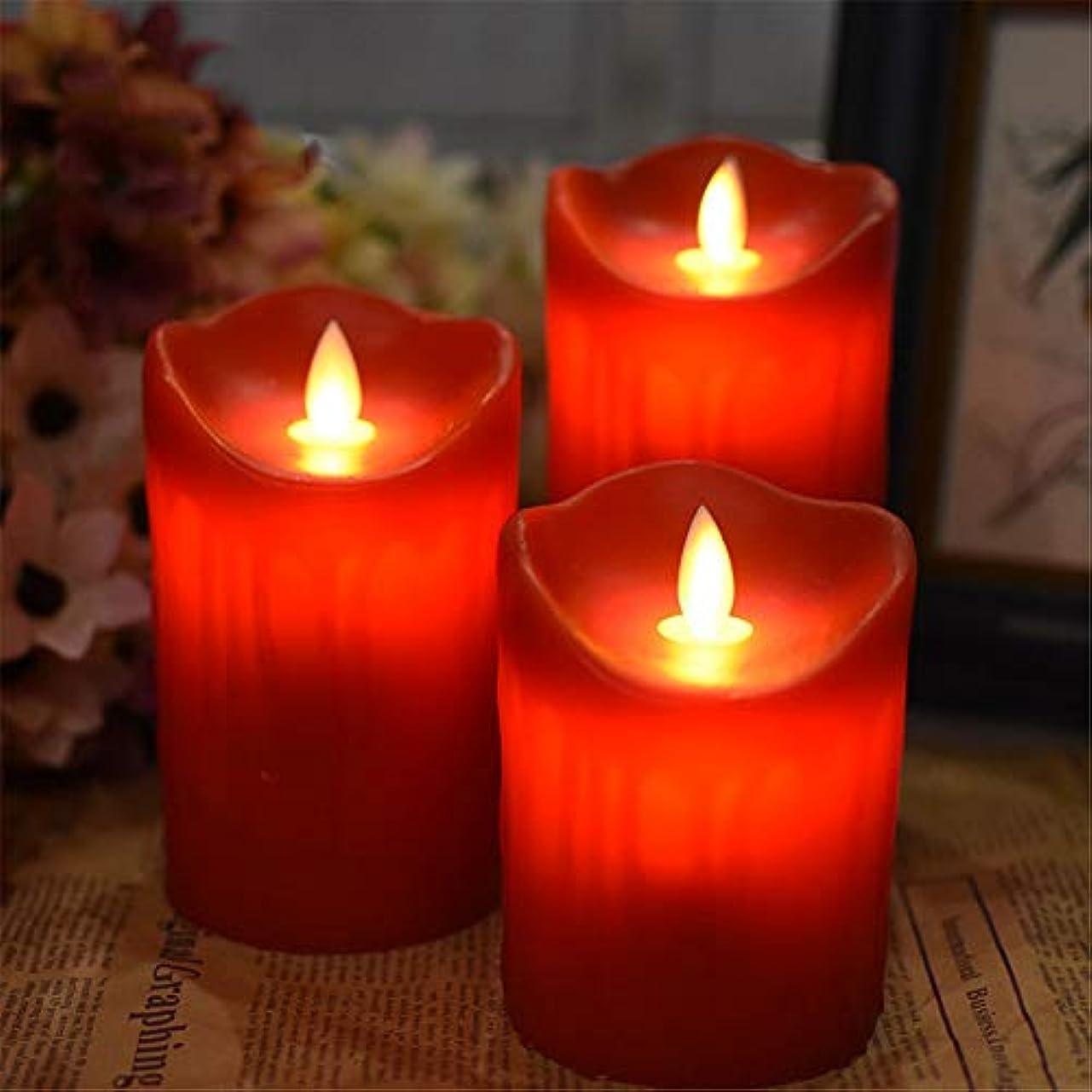 落ち着くソーシャルいわゆるフレームレスキャンドルバッテリー式点滅LED炎柱リアルワックス、ウェディングパーティーデコレーション(H 3