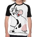Tシャツ メンズ 嬉しい漫画牛 ジャンプ 半袖 夏服 ゆったり 丸襟 肌触りよく ソフト 上質 カジュアル おしゃれ 日常 アウトドア スポーツ ベースボール 吸水速乾 通気性 耐久性