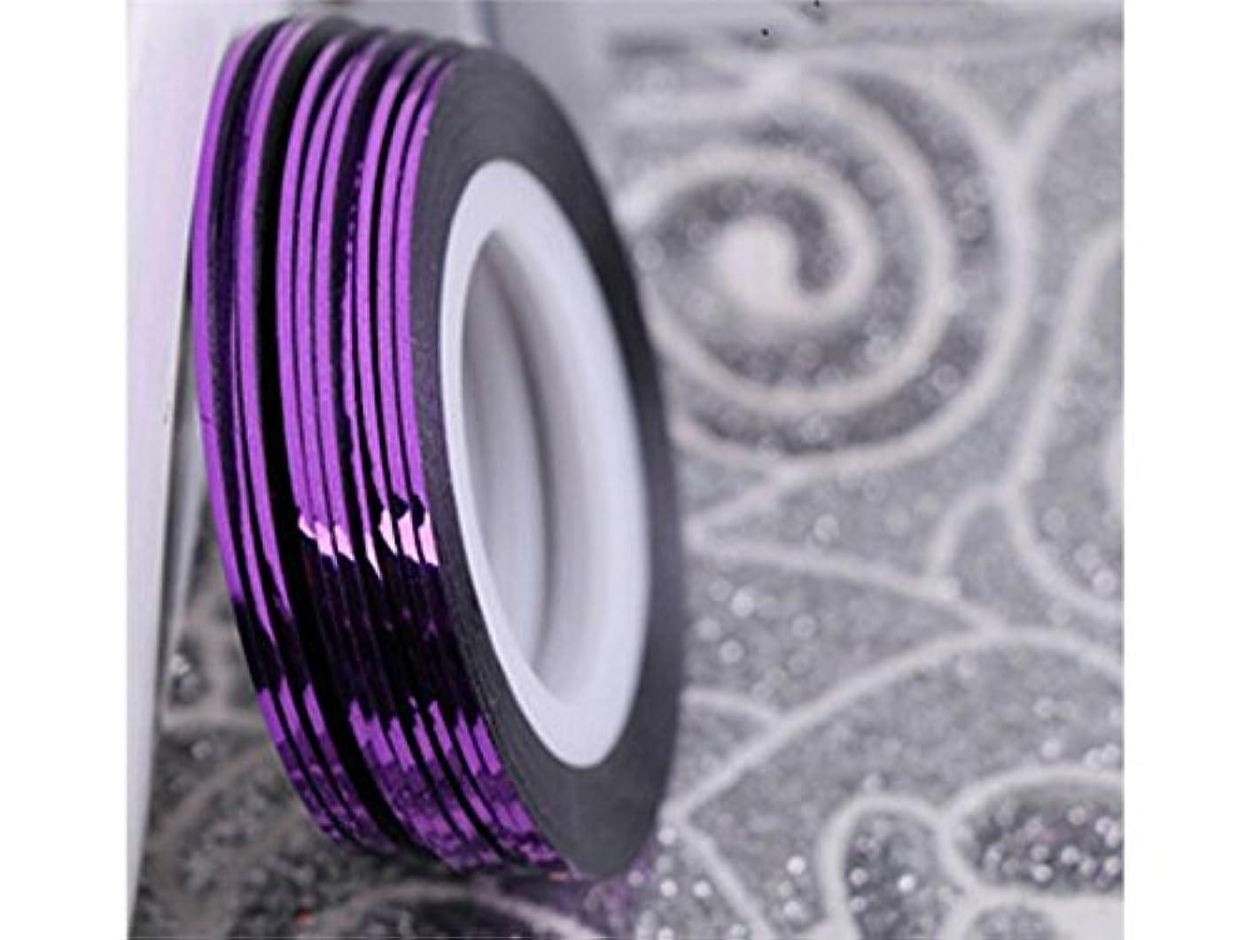 部分的にもろい汚れるOsize ネイルアートキラキラゴールドシルバーストリップラインリボンストライプ装飾ツールネイルステッカーストライピングテープラインネイルアートデコレーション(パープル)
