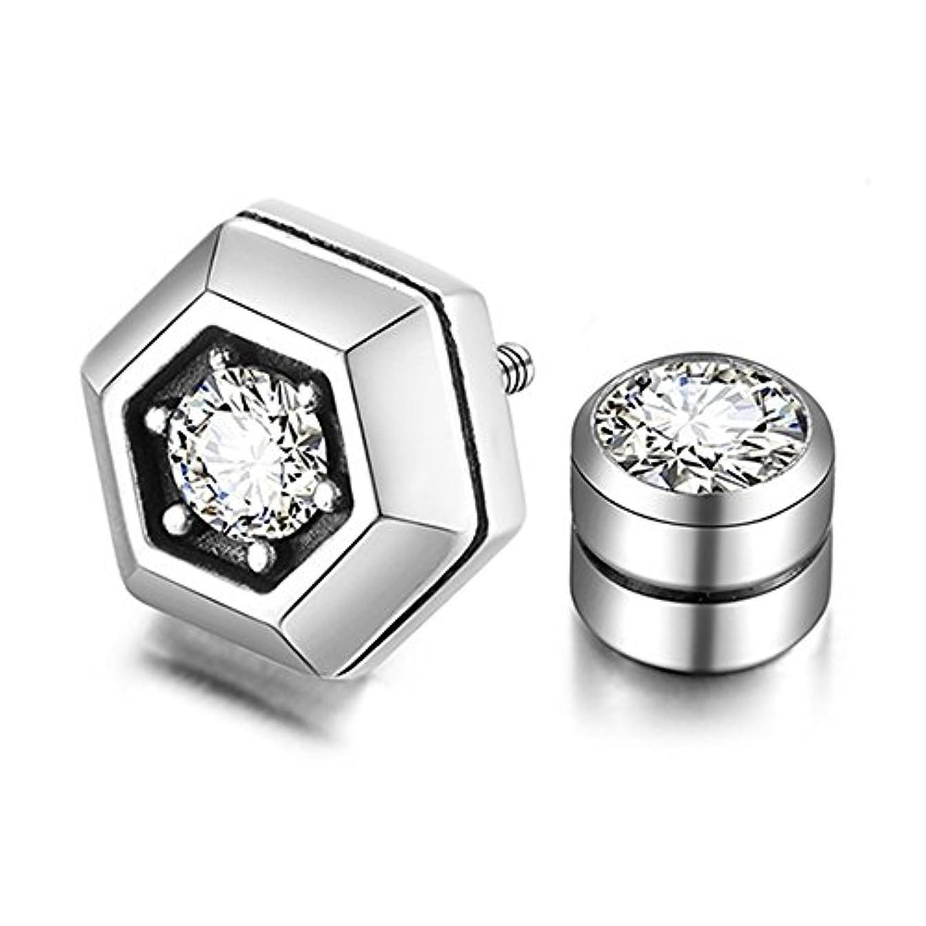 石散逸狭いAshley Jeweller 925シルバーメンズヒップホップ3d Hexagonサイドストーンスクリューバックスタッドイヤリング1個