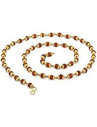 Rudraksh mala Beads Sacred Rudraksha Beads 5 Mukhi Japa Mala Rosary Golden Cap Meditation mala Yoga Necklace - Rudraksha Sacred Necklace Mala Beads - Rosary Pouch - Nepal Rudraksha Beads GOHNM16