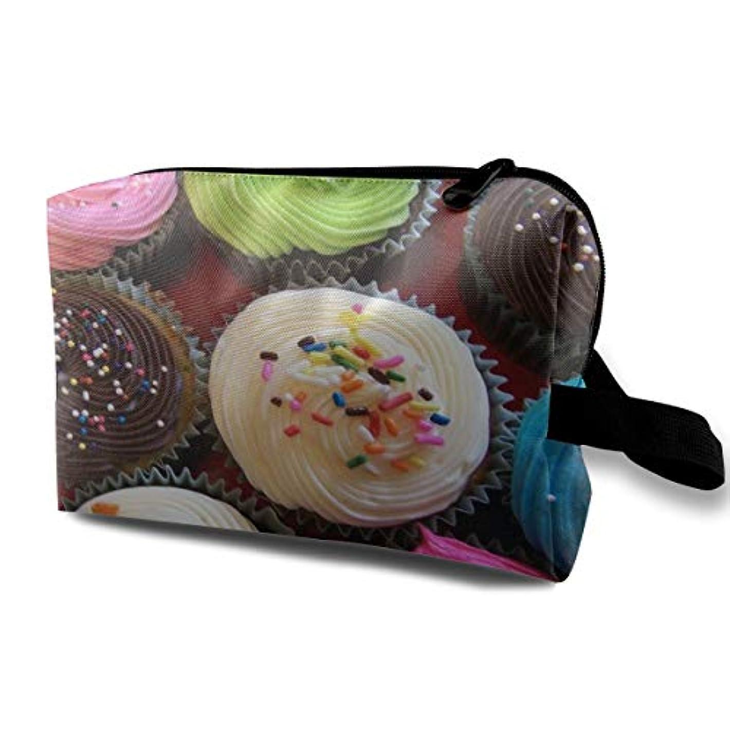 拍手するカウボーイ勃起Colorful Cupcake 収納ポーチ 化粧ポーチ 大容量 軽量 耐久性 ハンドル付持ち運び便利。入れ 自宅?出張?旅行?アウトドア撮影などに対応。メンズ レディース トラベルグッズ