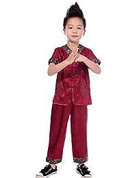 (ビグッド) Bigood(TM) 子ども tシャツ 男の子 半袖 龍柄 太極拳服 カンフー服 キッズ ズボン シャツ 女の子 春夏 上下セットレッド【並行輸入品】