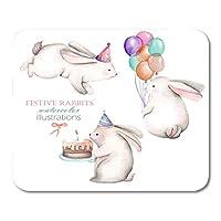マウスパッド誕生日レッドケーキコレクション水彩お祝いうさぎイラスト白動物祝賀会マウスマットマウスパッド