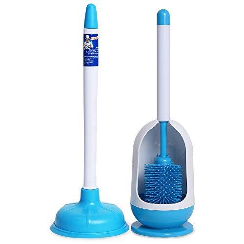 [해외]MR. SIGA 화장실 세트 화장실 브러시와 고무 컵 Toilet Combo~ Set of 2~ Soft Bristle Toilet Brush with Holder and Plunger~ White and Blue/MR. SIGA toilet set toilet brush and rubber cup Toilet Combo~ Set of 2~ Soft Bristle Toilet Brus...